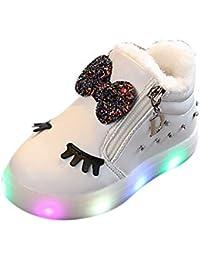 BBestseller Invierno de los niños más Terciopelo Arco cálido pedrería Suave Cremallera Zapatos LED Destellos Zapatillas iluminación Sneakers Botas Cortas