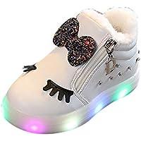 Zapatos Niño con Luces Gusspower Zapatillas Infantil Zapatos Bebe Niña LED Luz Luminosas Flash Zapatos Zapatillas De Deporte De Bebé Antideslizante Botas Niña Zapatos Cremallera Mantener Caliente