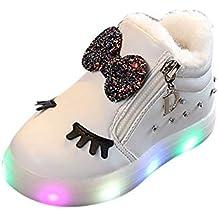 1bda12724ac Zapatillas Luces Niña, ❤ Zolimx Niños Niñas Bebé Bowknot Cristal LED  Luminoso Botas Deportivas