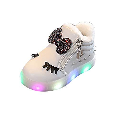 Oyedens Mädchen Led Schuhe, Led Leuchtstiefel Baby, Kinder Sport Sneaker Schuhekinder Beleuchtung Schuhe Winter Plus Warme Samt Bogen Strass Kleine Weiße Kurze Stiefel