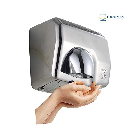iTradeIMEX Commercial 2500 Watt Electric Automatic Stainless Steel SS 304 Hand Dryer, 220-240V, 50-60 HZ, 360 Degree Revolving Nozzle