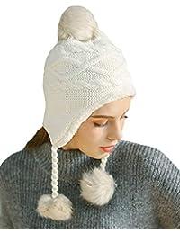 DELEY Unisex Niños Niñas Sombreros de Invierno Mujeres Gorro de Lana  Orejera Forro Polar ... 55bab95e941