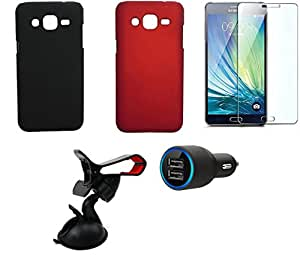 NIROSHA Tempered Glass Screen Guard Cover Case Car Charger Mobile Holder for Samsung Galaxy J2 - Combo
