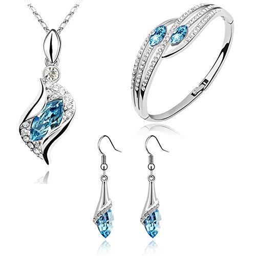 Scpink Vendita liquidazione, Collana + orecchini + bracciale Set di gioielli stile misto Boho catena (Azzurro)