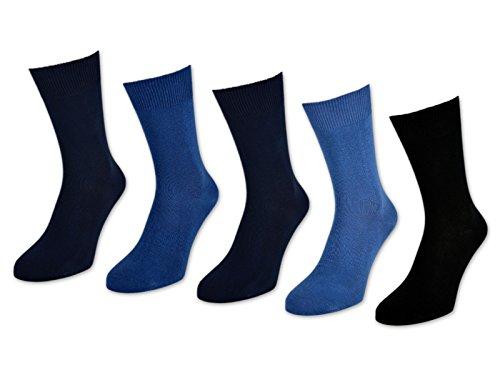 10 bis 60 Paar Herrensocken 100% Baumwolle ohne Naht Business Herren Socken Schwarz (Jeans/Blau/Schwarz - 43-46, 10 Paar)
