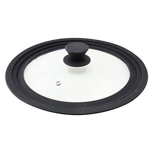 Com-four® paraspruzzi universale coperchio in vetro con bordo in silicone per pentole e padelle con Ø 24, 26, 28 cm (01 pezzo - cerchio in silicone Ø 29 cm)