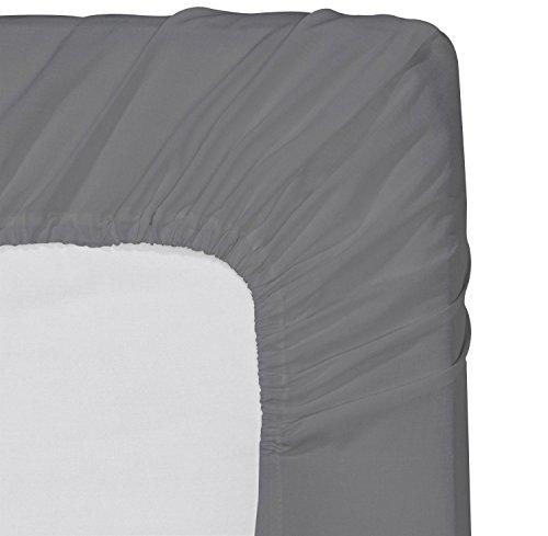 Utopia bedding lenzuolo con angoli – in microfibra spazzolato, traspirante, con imbottitura profonda - resistente a grinze, sbiadimenti, macchie e strappi (grigio, 180x200)