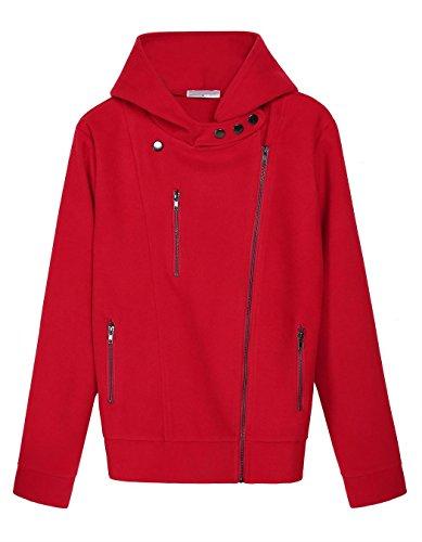 Ceanfly Damen Casual Zip Hoodies Sweatjacke Kapuzenjacke Sweatshirt Oberteil Rot