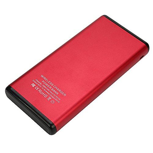 es Kabelloses Laden von mobiler Energie, 10000mAh Portable Qi Wireless Power Ladegerät Dual USB Externe Ladegerät Power Bank für Samsung Galaxy S9 / S9 Plus (Rot) ()