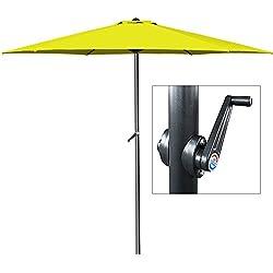 Parasol jaune - Ø 300cm - Avec manivelle - Jardin - Terrasse