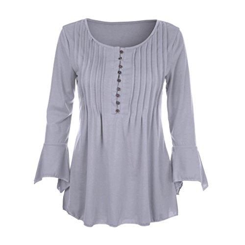 MRULIC Geschenk Zum MuttertagWomen Autumn Flare 3/4 Sleeve Slim V Neck Buttons Blouse Tops Tee Shirt(Grau,EU-36/CN-S)