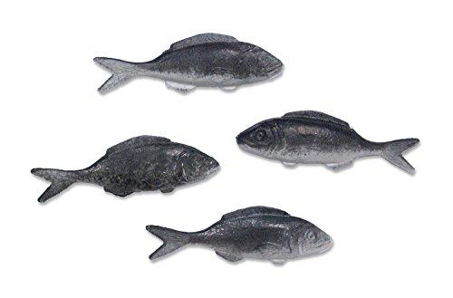 4 Sardinen Kunststoff-Attrappen zur Auslagengestaltung, je 12x4 cm. Party Deko Mottoparty, Bastelbedarf, Geschenkidee, Meeresdeko, Schaufensterdeko