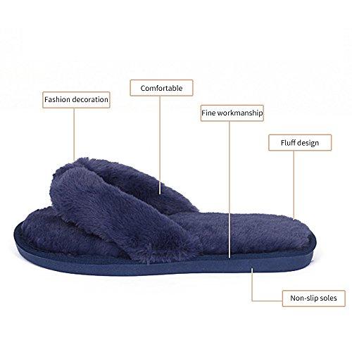 MStar Damen elegantes Bett Hausschuh warmer Plüschfell flip flops Baumwolle Pantoffel rutschfeste Schuhe für Herbst/Winter in 4 Farben Rot