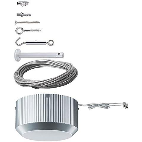 Kit per sistema a cavi Paulmann-5310 Basis Sistem 300. Kit completo per sistema a filo colore grigio. Portata massima lampade per 300 Watt. Lunghezza totale cavo 15 m, per impianti fino a 7,5 m, diam. cavo 4 mm Paulmann 5310