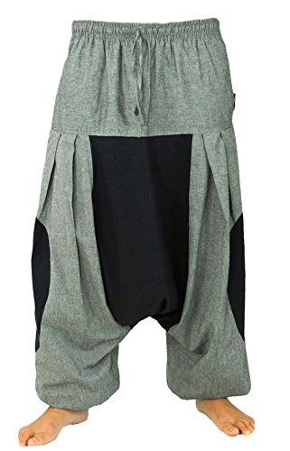 Guru-Shop Haremshose, Pluderhose, Pumphose, Aladinhose, Herren/Damen, Baumwolle, Size:One Size, Männerhosen Alternative Bekleidung Steingrau