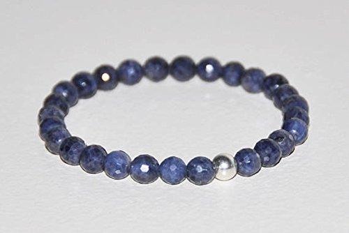 Bracciale elastico vero zaffiro blu, in argento sterling, pietra naturale non trattato gemma, settembre, benessere, gioielli, allontana male 6mm