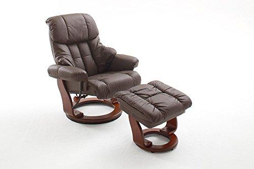 Relaxsessel in braunem Echtleder bezogen, Lesesessel inkl. Hocker mit Stauraumfach, Ruhesessel 360° drehbar