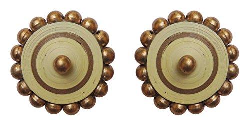 Craftitude Gold Non-Precious Metal Stud Earrings for Women (Gold Beige_Kerala Saree_Big Stud)