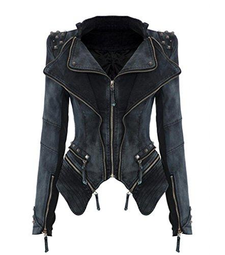 Minetom Damen Punk Rock Retro Revers Jacken Blazer Schicke Biker Jeansjacke Übergangsjacke Mit Nieten Reißverschluss Smoking Mantel Coat Grau DE 38 (Anzug Doppel-revers, Hose,)
