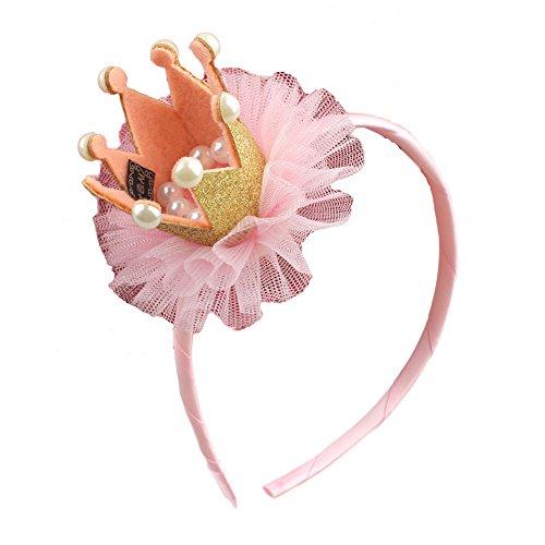 mit Mini-Krone Tiara Party Kostüm Kopf Haarband Haarschmuck für baby Kleinkind Blumenmädchen Kinder (Gold) ()