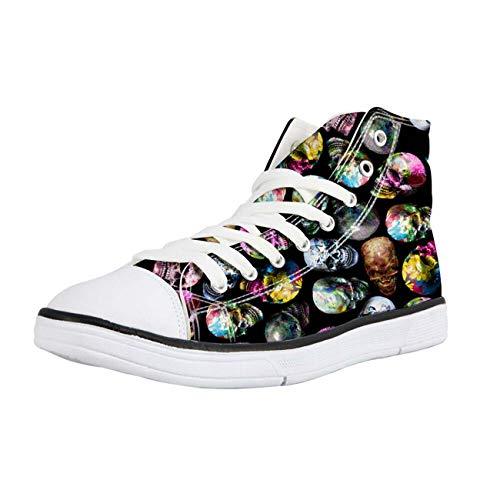 Mens Sneakers Cool Black Skull Canvas Plimsolls Hi Tops Walking Shoes Soft Pumps Multi Skull+Black CC3534AK 10