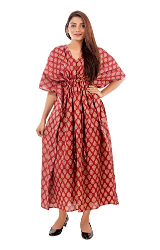 Women's Maroon Leaf Printed Caftan Maxi Sexy Sleepwear Night Dress Adjustable Drawstring...