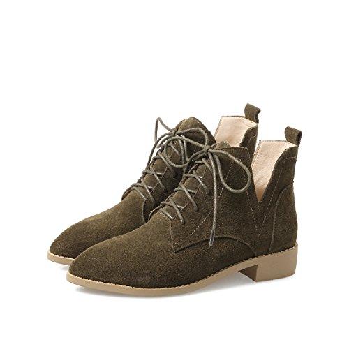 Cuoio Inverno Con Low Stivali Autunno Confortevole Heel Indossare Resistente Bocca Donne e Army green Spessa Shallow Sharp Coltello 7fq1np