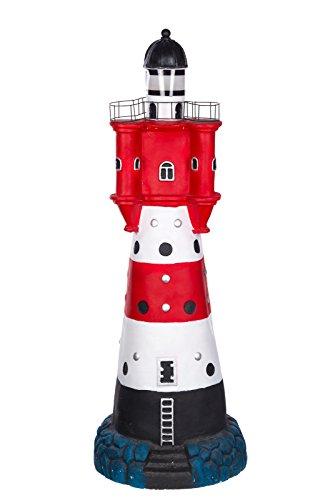 Leuchtturm (Figur, Riesiger Leuchtturm mit Solarlampe SYB1684, Groß 90 cm hoch, Gartenfigur, Deko Leuchtturm mit LED Solar Lampe Dekorationsfigur für Innen und Außen, Polyresin Gartendekoration)
