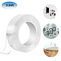 Reusable Nano Adhesive Tape, GHONLZIN Multipurpose Double Sided No-Trace Removable Glue Tape Washable Strong Gel Anti-slip Fixed Adhesive, Transparent, 9.84ft