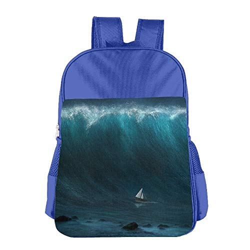 Small Boat Captured by Large Wave Children School Backpack Carry Bag for Kids Boy Girls