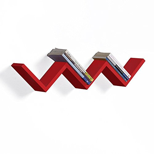 Wooden Red W Shape Wall Mount Book Shelf Zigzag Wall Shelf By Artesia  available at amazon for Rs.645