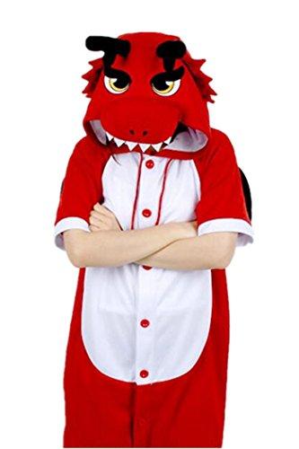 wotogold Sommer Tier Roter Drachen Pyjama Unisex Erwachsene Cosplay Kostüme Short Sleeve (Jumpsuit Red Kostüm)