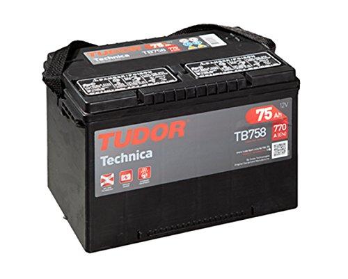 Batteria per auto Tudor Exide Technica 75Ah 12 V., dimensioni: 260 x 240 x 186. Faretto sinistra.