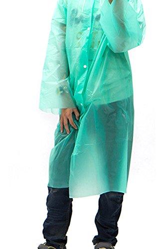 Beetest-5PCS Kinder Einweg-PEVA Raincoat mit Kapuze Grün