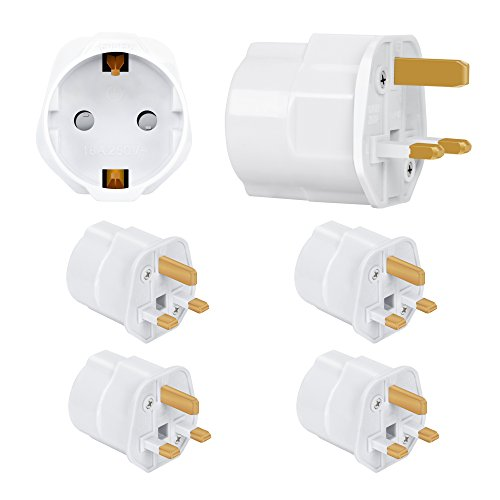 Incutex 4x Reisestecker UK GB England Travel Adapter EU Schuko 2-Pin auf UK 3-Pin Reise Steckdosenadapter Weiß