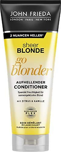 John Frieda Sheer Blonde Go Blonder Spülung/Conditioner - 2er Pack (2 x 250 ml) - aufhellend - mit Citrus und Kamille - versorgt das Haar mit Feuchtigkeit