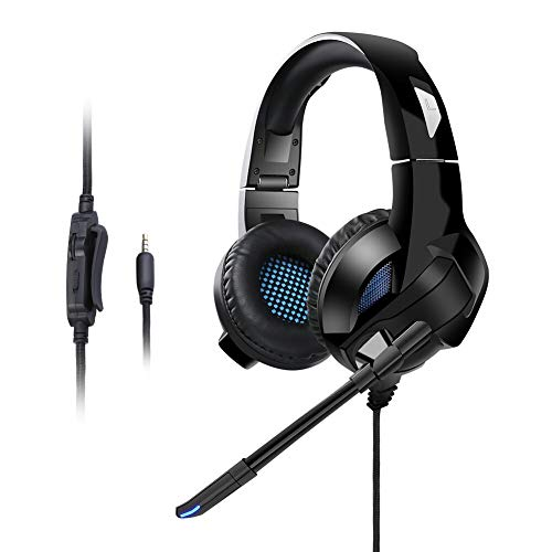Qingta Gaming Headset, 3,5 mm Klinke Stereo Bass Surround Gaming Kopfhörer für PS4, Xbox One, Nintendo Switch (Black) -