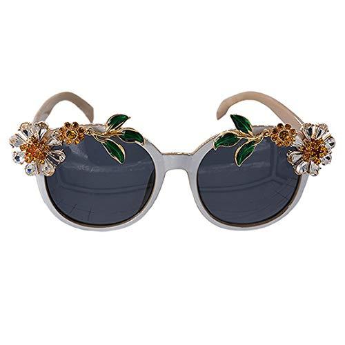 Easy Go Shopping Sonnenblume Kristall Barock Sonnenbrille Für Frauen Exquisite Handgefertigte Rahmen Brillen Modenschau Stil Sonnenbrille Sonnenbrillen und Flacher Spiegel (Farbe : Grey)