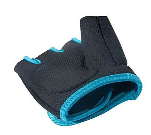 lumanuby 1Paar Damen Herren 's Gym Handschuhe, Half Finger Handschuhe semi-breathable Verschleißfest Rutschfest Fitness Handschuhe für Outdoor Ausreit Klettern atmungsaktives Sport Handschuhe Workout Training, Blue M, 18-21CM - 2