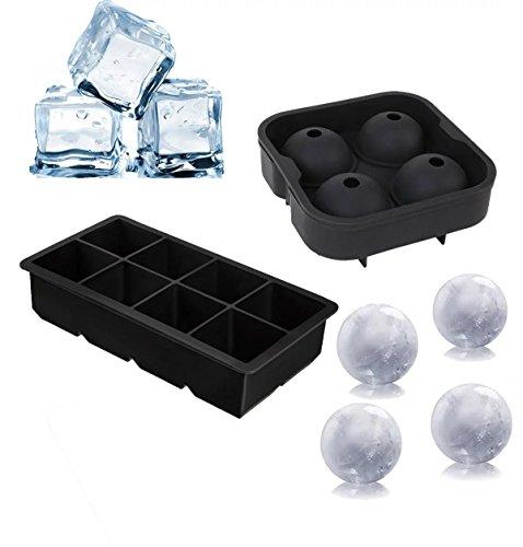 Vpsan 2er Pack Eiswürfelform-5 cm Würfel Eiswürfel & 4 Eiskugeln mit 4,5 cm Durchmesser aus Silikon