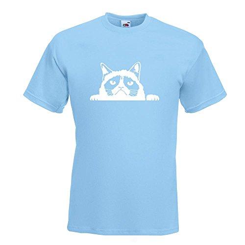 KIWISTAR - mürrische Katze T-Shirt in 15 verschiedenen Farben - Herren Funshirt bedruckt Design Sprüche Spruch Motive Oberteil Baumwolle Print Größe S M L XL XXL Himmelblau