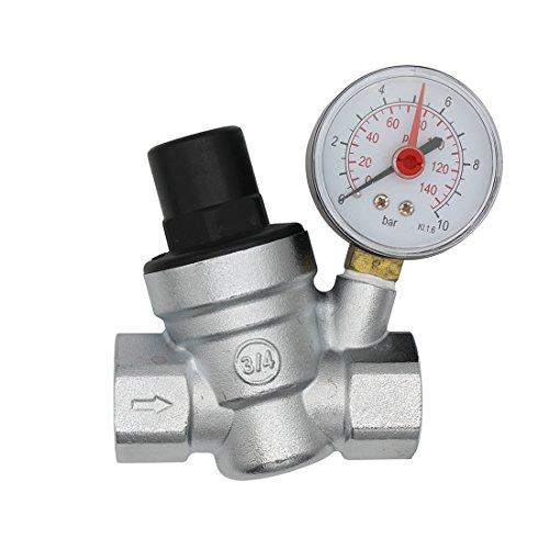 DN20 Valvula presion reductora cromado regulador presion agua 3/4 pulgada con manometro indicador presion agua