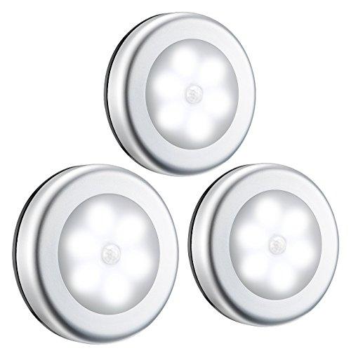 Bewegungsmelder-Licht, 6 LEDs, 3 Stück, kabellos, batteriebetrieben, mit 3M-Klebepads, kompaktes Schranklicht, Treppenlicht, selbstklebend, für Küche, Bad, Flur, Schlafzimmer, Garage, Keller, Weiß -