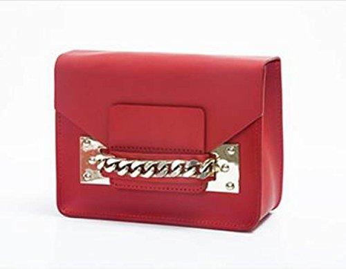 Donna Genuine Leather Retro Mini Singola Spalla Crossbody Bag Box Frizione. Red