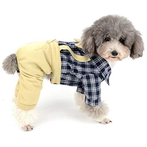 Zunea Hunde-Overall mit Schleife, sanfter Latzhose, formelle Welpen-Outfits, Western-Vierbein-Strampelanzug, modisch, für kleine Hunde und Jungen (Western Kostüme Weibliche)