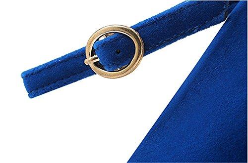 Wealsex Escarpin Suédé Daim Bride Cheville Boucle Talon Moyen Bloc 5 CM Bout Ronde Femme Bleu