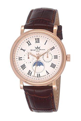 Yonger & Bresson HCR 1685/02 - Orologio da polso da uomo, cinturino in pelle colore marrone