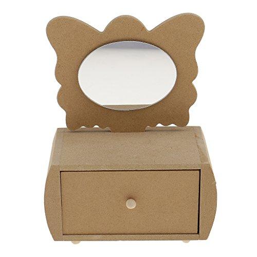 sharplace Mini Schmetterling Design Blanko unlackiert Holz jewelry box Aufbewahrungsbox mit Schubladen, Spiegel für Kinder Spielzeug (Unfinished Eine Schublade)