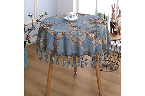 ve Tischdeckenabdeckung Handtuch Tischdecke Quaste Runden Runden EuropäIschen Tischdecke Tischdecke Ab,Blue,2.2cmround ()
