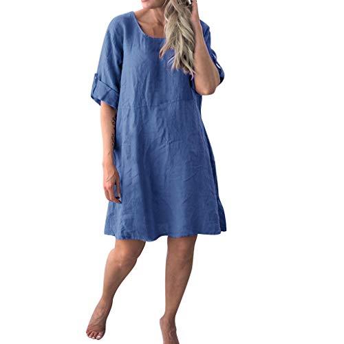 Langes Damenkleid, langes, lässiges kurzärmliges Kleid mit Rundhalsausschnitt, halblange Ärmel, lockerer Pullover, T-Shirt, Baggy, Tunika, Tops, Übergröße, Urlaub, Freizeit, blau, Medium -